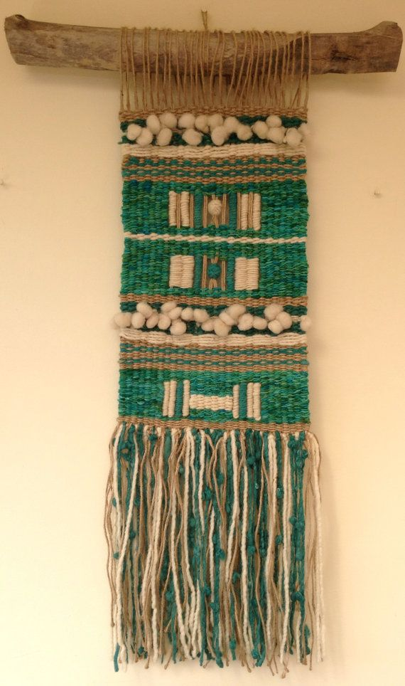 Hand Made Woven Wall Hanging Tapestry por WovenHomeArt en Etsy, $250.00