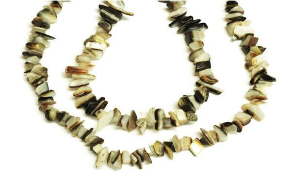 "2 Strands Brown and White MOP Chips Beads, Jewelry Making Chips, 36"" Long Strand #luctsa"