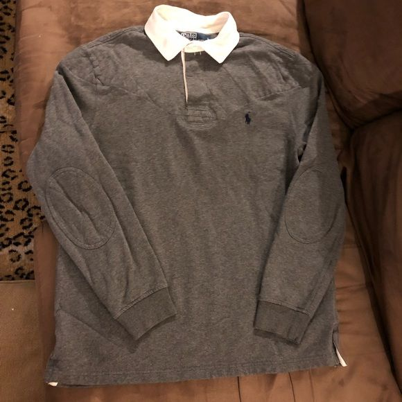 Shop Men's Polo by Ralph Lauren Gray size L Shirts at a discounted price at Poshmark. Description: Polo Ralph Lauren Solid Grey With Quilted Padded Shoulders and Elbow Patches Long Sleeve Rugby Shirt size L! Great condition! Please make reasonable offers and bundle! Ask questions! :). Sold by abenne37. Fast delivery, full service customer support.