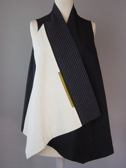 Long Round Neck handwoven Vest in Black and White Juanita Girardin