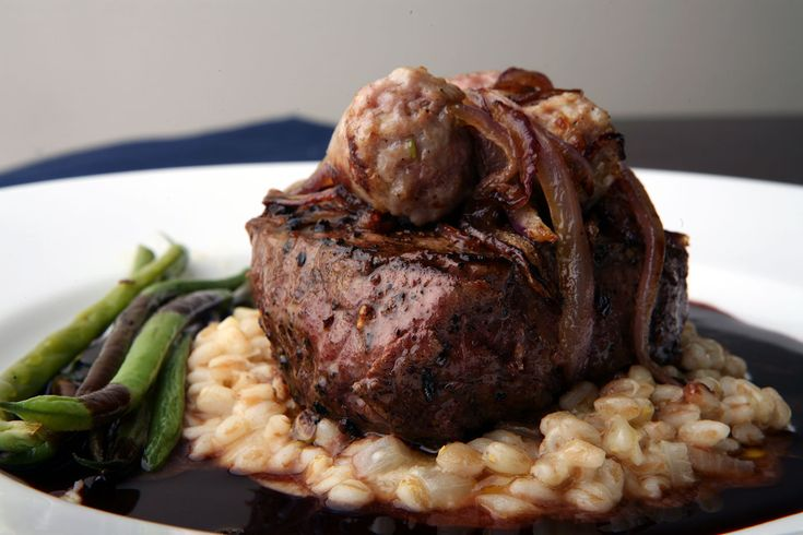 Nick Stellino - Grilled Fillet of Beef with Farro, Haricots Verts, Italian Sausage and Red Wine Sauce