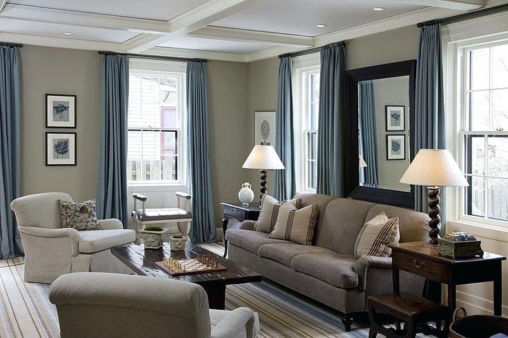 Elegant Brown Grey And Blue Color Scheme Beige Living Rooms
