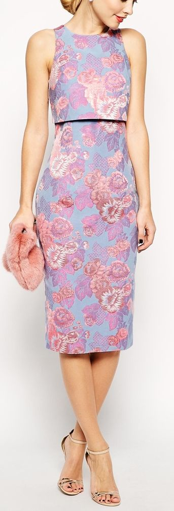 floral jacquard layered dress