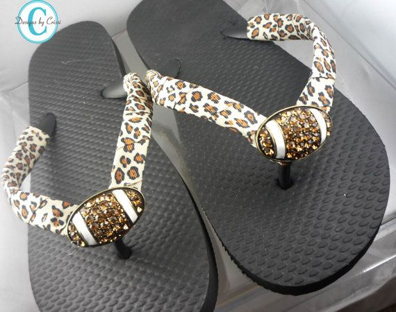 Football Flip Flops Leopard Bling Rhinestone Buckle Player Mom Girl Boutique Sports Ribbon Flip Flops