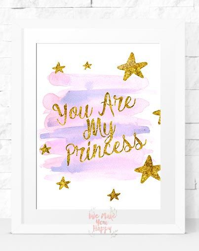 princess wall art princess print princess by behappyprintable