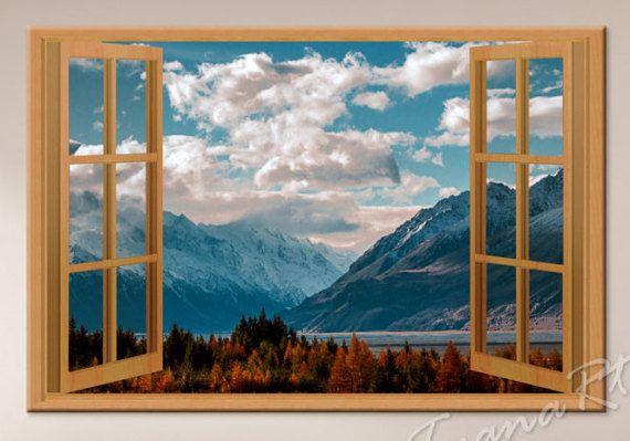 Window view Landscape photo Landscape print Mountain by TyanaRt