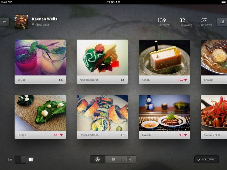 foodie for IPad by Keenan Wells (floating thumb gallery with good use of lighting background and shadows)