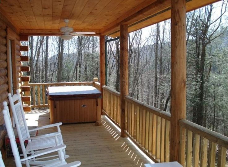 Great choice for Abby and Steve - Boone cabin rental - Front Deck with Hot Tub
