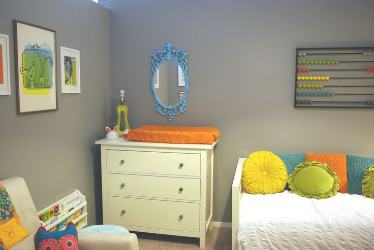 Starting to love a gray/beige color for the walls in the to be shared room.