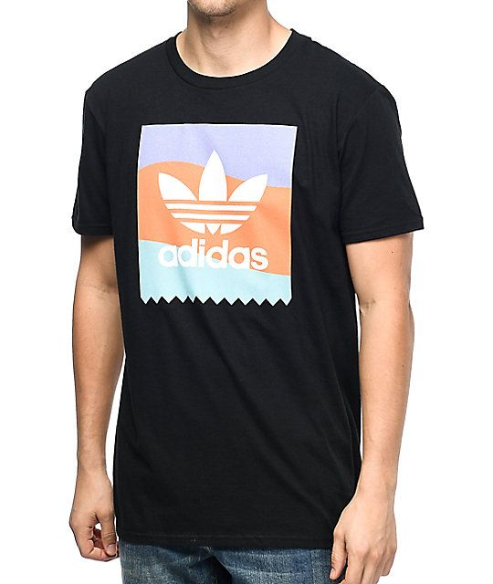 Show your love for adidas in the Blackbird shirt. An all black, 100% cotton tee features a light purple, soft orange and mint striped front screen printed flag with the classic adidas Trefoil logo in white at the center. Simple, classic, adidas.