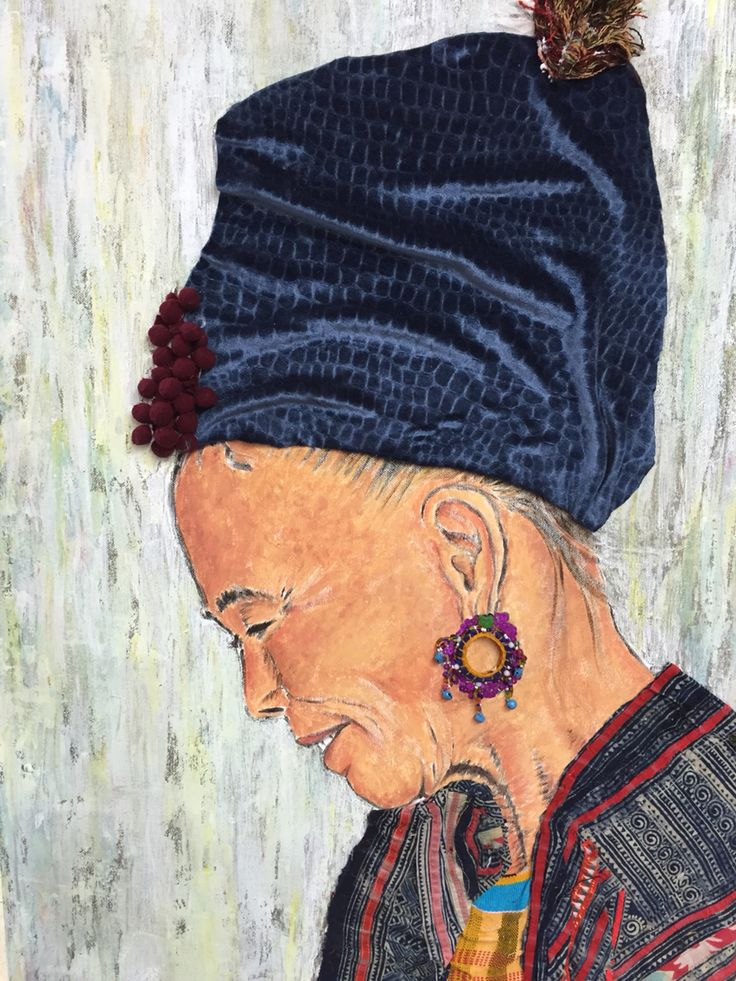 Vietnamese Woman -Oil on canvas and textile. By Farah and Yasmine Dabbous.
