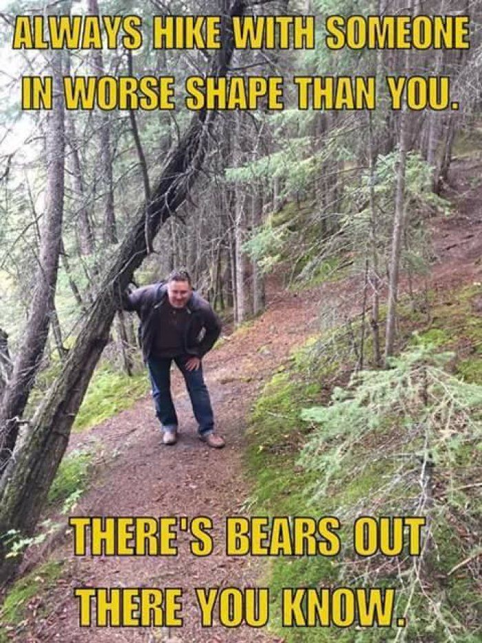 Always hike with someone in worse shape than you meme