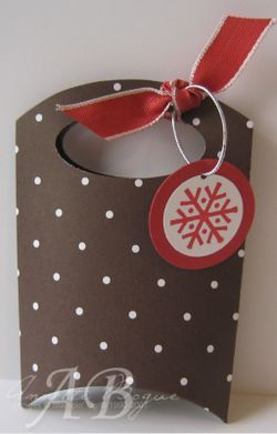 Pillow Box Mini Bag using a pillow box template and the handle is punched with a…