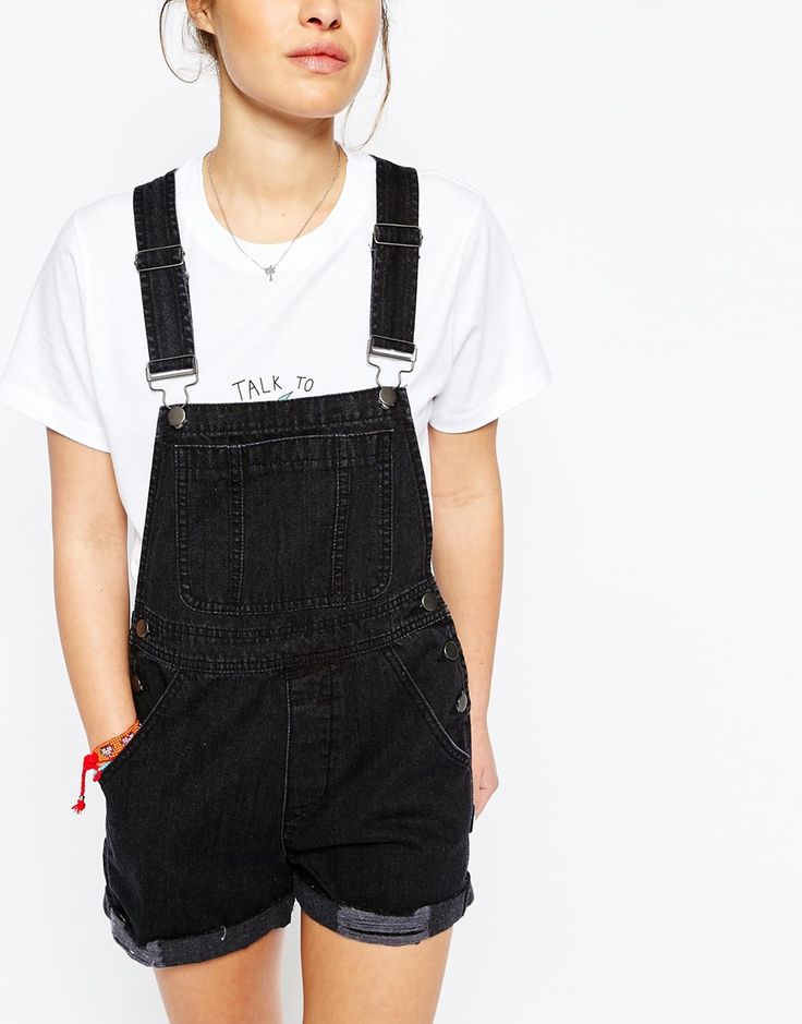 Image 3 of ASOS PETITE Denim Dungaree Shorts in Washed Black