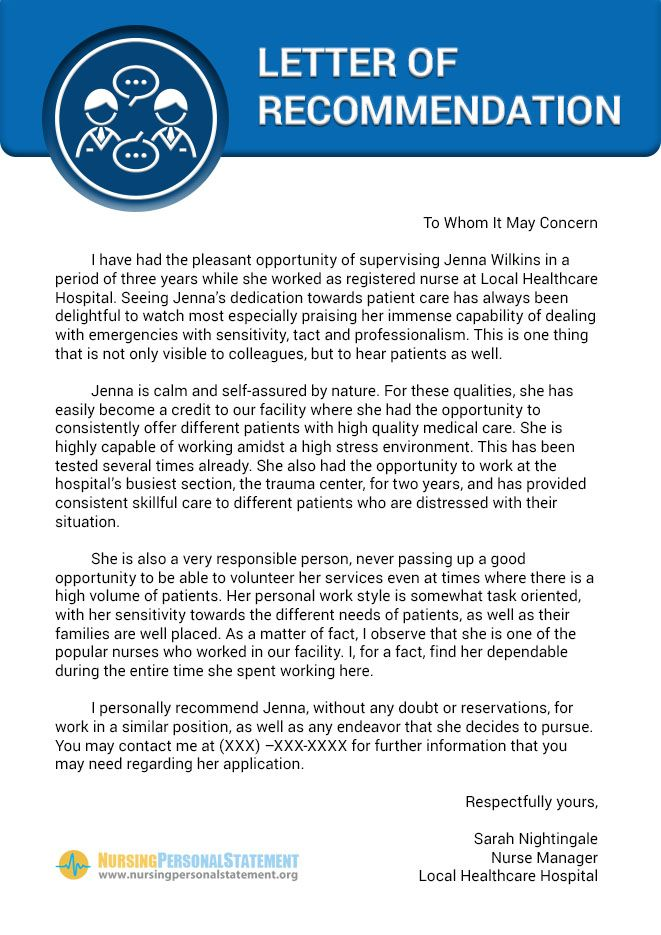Here is a nice example of nursing letter of