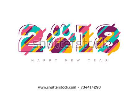 2018 happy new year greeting card with abstract colorful numbers and dog paw print vector illustration brochure design template business diary cover