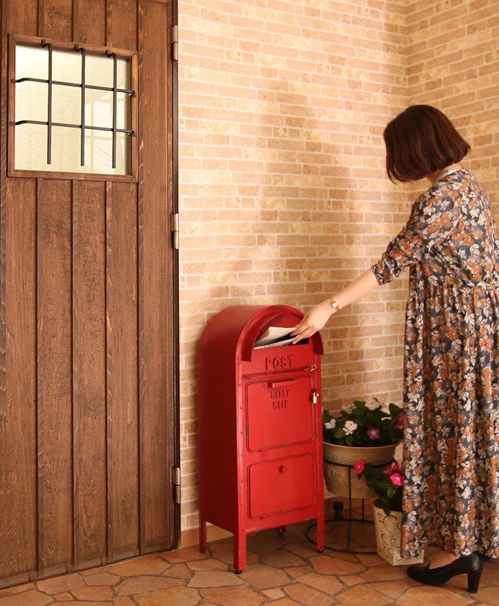 アメリカンクラシックな公共用郵便ポストをモチーフ。ポスト 郵便受け 置き型ポスト 郵便受け ポスト おしゃれ ポスト スタンドポスト アンティーク 置き型ポスト 大型 郵便ポスト メールボックス ヴィンテージ【アメリカンポスト】レッド イエロー アメリカン