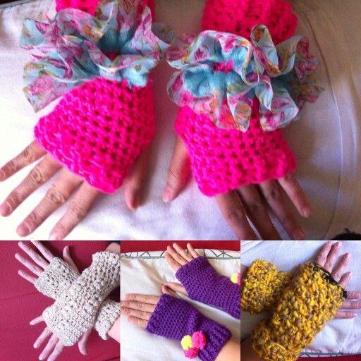 Mitones a crochet.