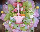 Easter Basket Wreath, handmade USA, Kathy's Holiday, Ocean City, NJ