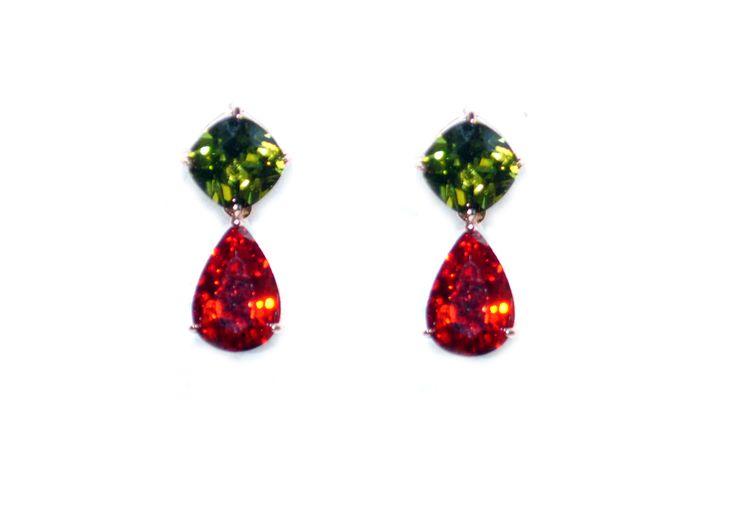 Multi-Color 18K Rose GoldPlated Swiss Cubic Zirconia Earrings For Women