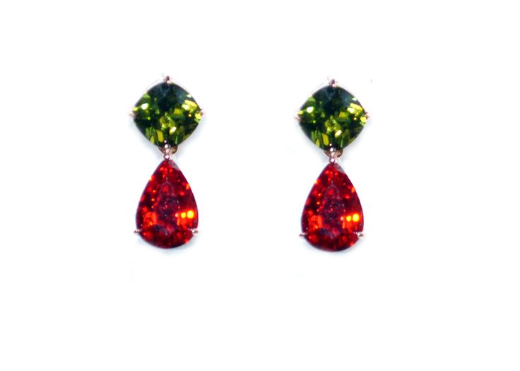 Multi-Color 18K Rose GoldPlated Swiss Cubic Zirconia Earrings For Women