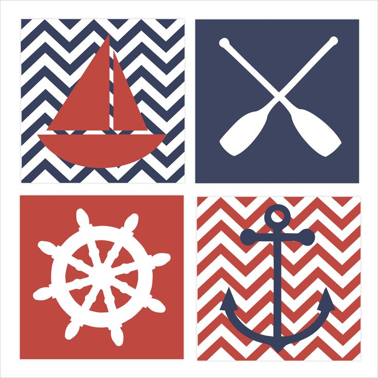 Nautical Theme, Regatta, Children's Wall Art, Nursery Wall Art, Children's Canvas- Set of four 10x10 stretched canvas Pottery Barn inspired. $85.00, via Etsy.