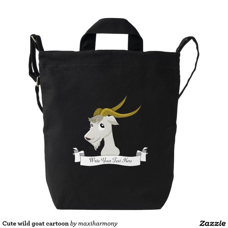 Cute wild goat cartoon duck canvas bag