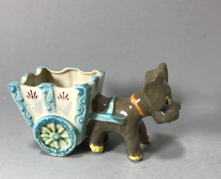 Ceramic Dog Pulling Cart Planter, Dog Pulling Wagon Planter, Indoor Planter, Air Plant Planter, Scottie Dog Pulling Cart, Brownish Grey Dog by littlewoodenhouse on Etsy