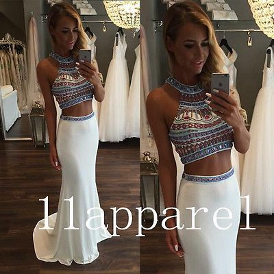 2016 New Two Piece Prom Evening Dresses White Crystal Sexy Party Formal Gown                                                                                                                                                                                 Más