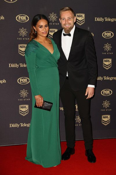 Blake Austin of the Canberra Raiders and partner Gillian Alefosio arrive at the 2016 Dally M Awards at Star City on September 28, 2016 in Sydney, Australia.