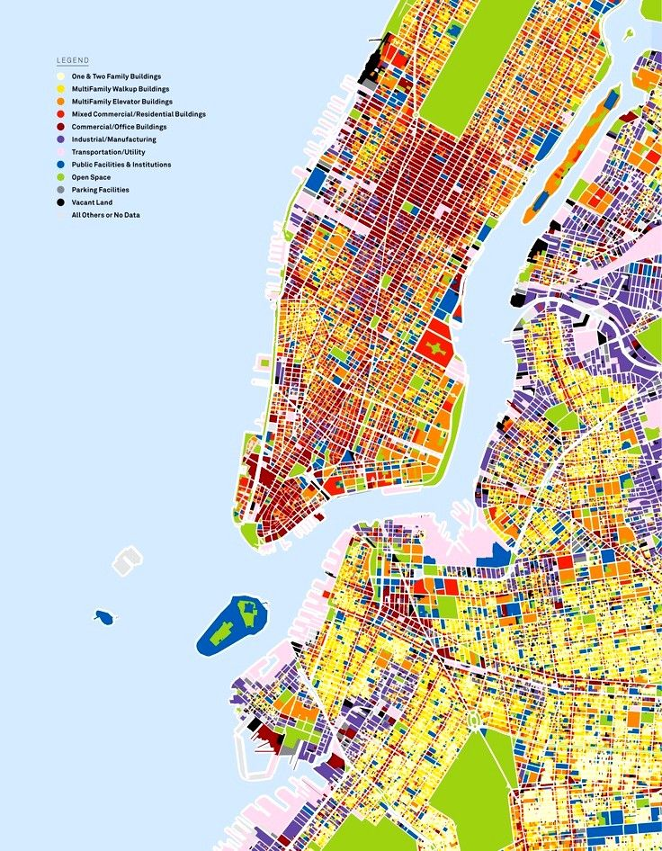 Land Use Map of part of New York City. #landuse #cityplanning #NewYorkCityMaps