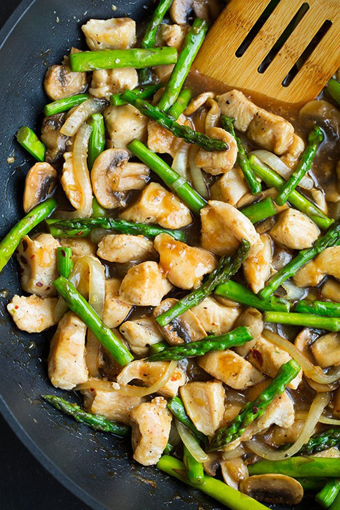 Ginger Chicken Stir-fry with Asparagus — instead of getting Chinese takeout, make this healthy stir-fry at home instead, via @cookingclassy