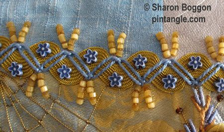 Photographed step by step tutorial on how to work Zig-Zag Chain Stitch which is a versitle decorative hand embroidery stitch.