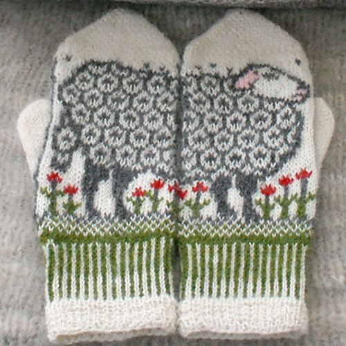 I think my cousin, AMANDA, may like this ;).   Ravelry: Sheep mittens pattern by Jorid Linvik