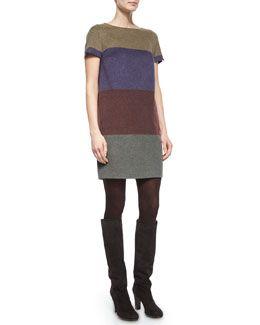 W06UA Loro Piana Ellis Cashmere Colorblock Striped Shift Dress