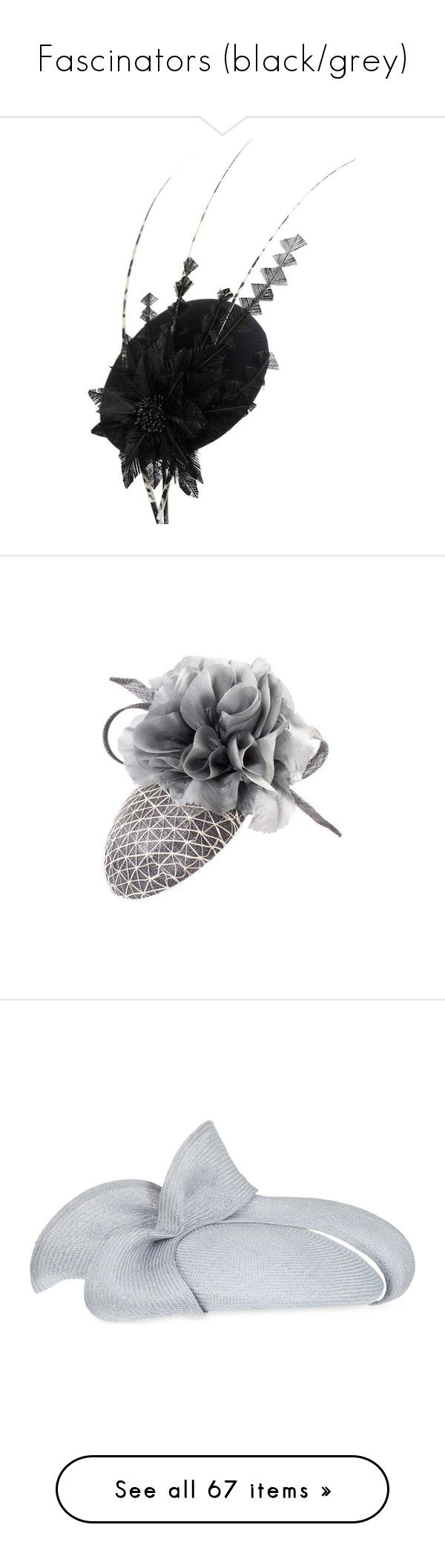 """Fascinators (black/grey)"" by averymessygirl ❤ liked on Polyvore featuring accessories, hats, couture hats, fascinators, gina foster, holiday hats, grey fascinator, gray fascinator, waffle hat and grey fascinator hat"
