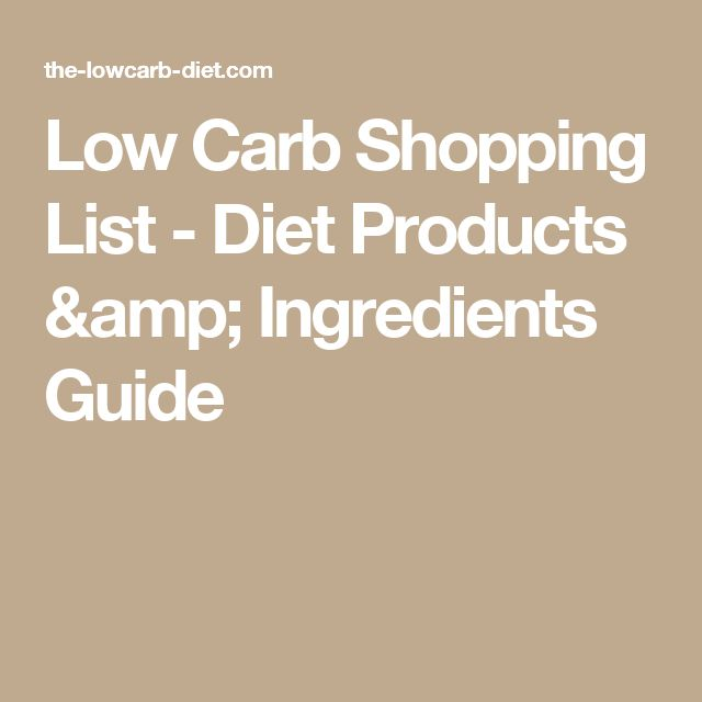 Low Carb Shopping List - Diet Products & Ingredients Guide