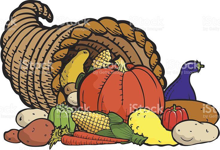 Corne d'abondance Thanksgiving symbole cliparts vectoriels libres de droits