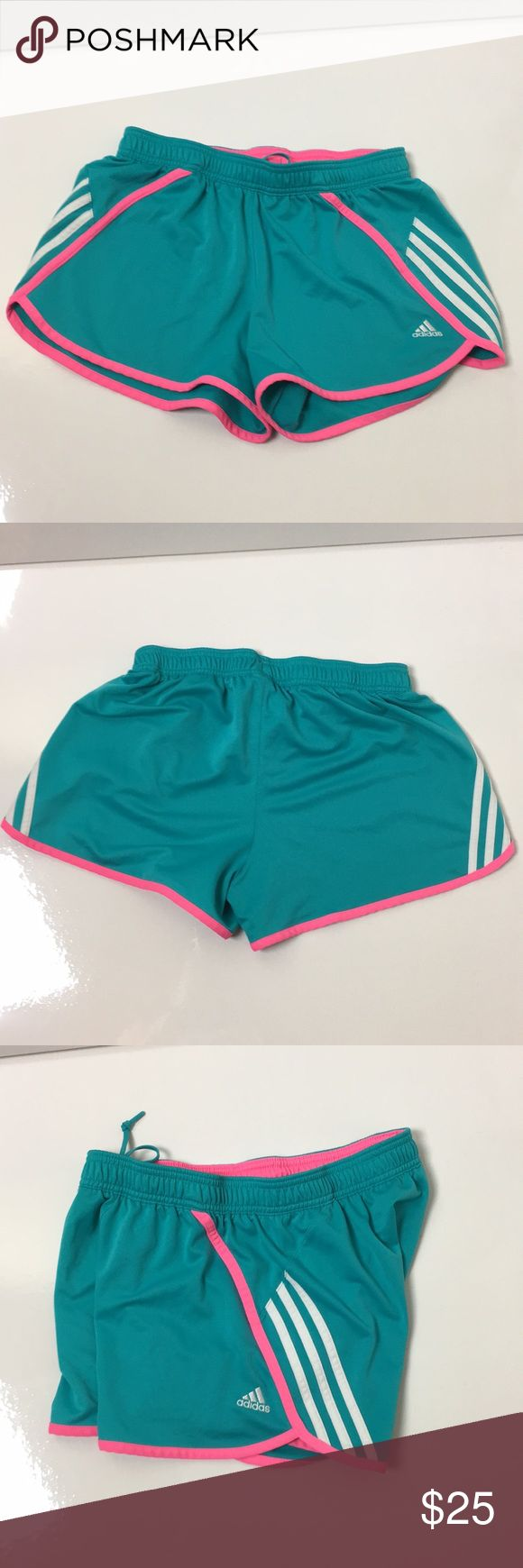 Adidas Neon Shorts Bright Blue and Neon Pink workout Shorts, white stripes, drawstring adidas Shorts