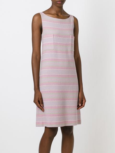 Chanel Vintage твидовое платье в полоску