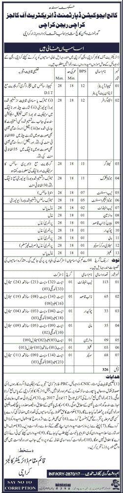(326 Vacancies) in College Education Department Govt of Sindh Karachi June 2017 http://ift.tt/2rtIqYN
