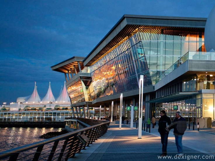 seattle convention center..tilted glass facade