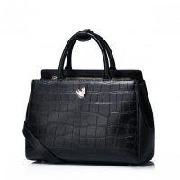 Damska torebka z wzorem skóry krokodyla Czarna