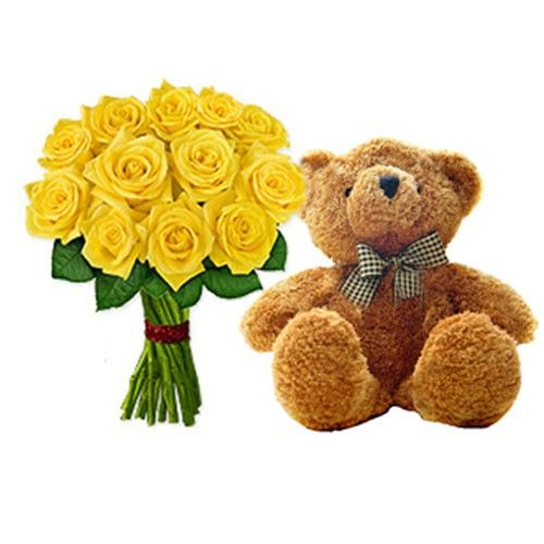 Yellow Rose Flowers with Teddy, gift to someone special in your life #flower #teddy #onlinegifts #website