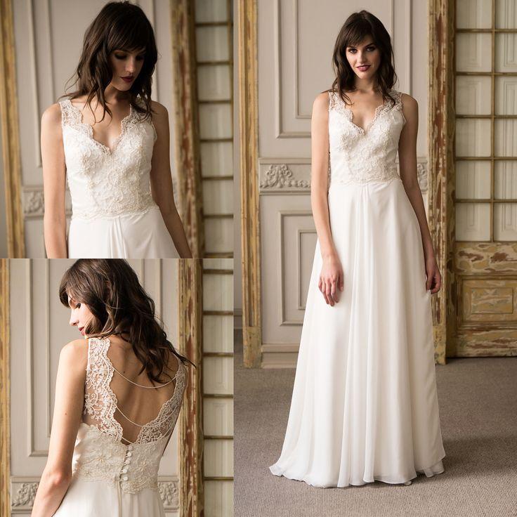 Vestido de novia Minimal bordado · Minimalist Wedding dress with hand embroidered detail