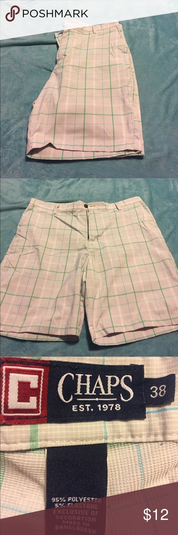 Men's dress shorts Men's dress shorts- CHAPS.    size 38.   Good condition.  Gray blue green material listed in picture Chaps Shorts Flat Front