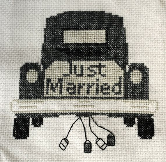 Wedding cross stitch pattern.  Just Married CrossStitch Old fashioned car with cans.  For a wine bottle fabric bag?  Wedding gift.   pattern by CountedCrossStitcher on Etsy, $5.00