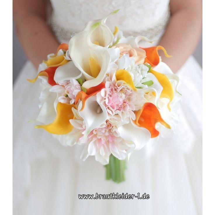 Calla Lily Dahlia Bridal Bouquet 2019 Hochzeitsdekoration Gelb Orange   – Accessoires für die Braut Online