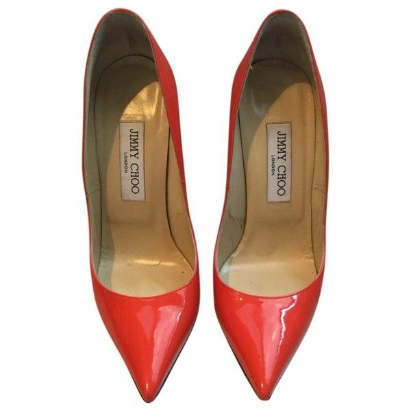 Pre-owned Jimmy Choo Patent Leather Court Shoes (7 415 UAH) ❤ liked on Polyvore featuring shoes, pumps, orange, women shoes heels, patent leather shoes, orange shoes, orange high heel pumps, jimmy choo and orange high heel shoes