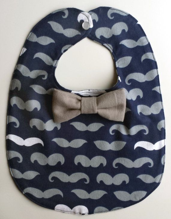 Baby Boy Navy Blue Mustache Bib With by MoreAdventurousCo on Etsy